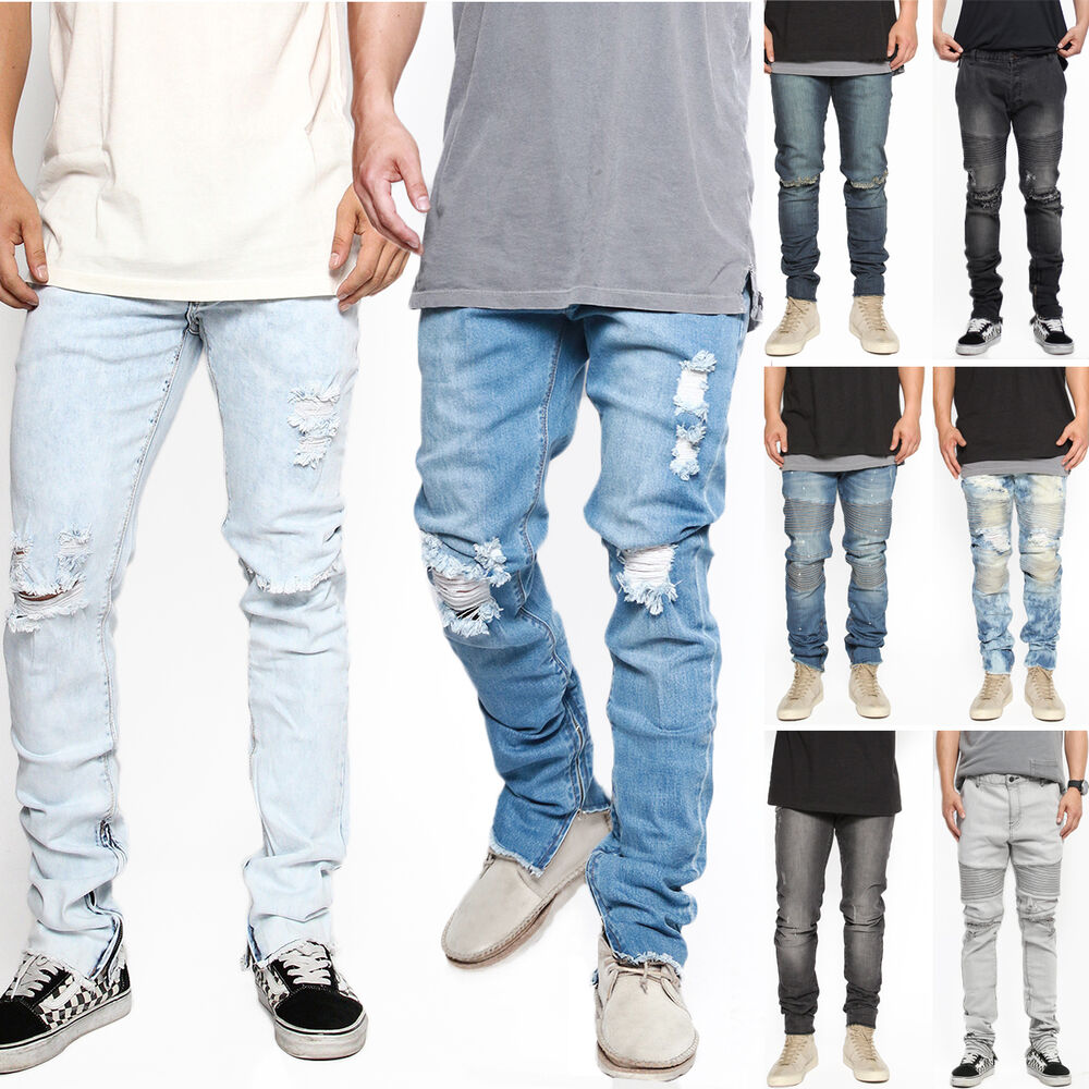 TheMogan Men's Distressed Ripped Destroyed Wash Denim Zipper Ankle ...