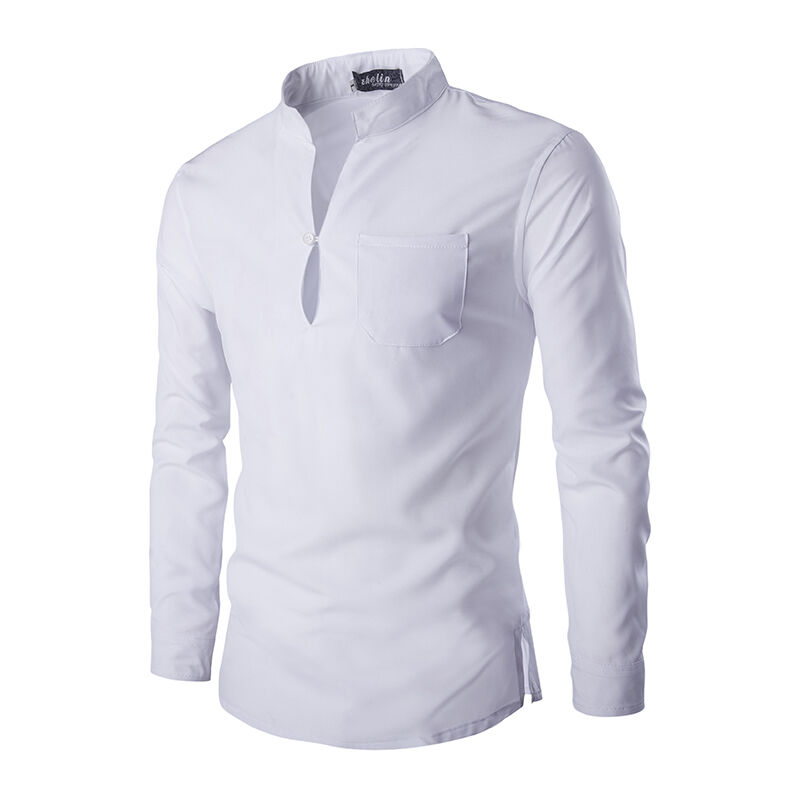 Men S Shirts Slim Fit Long Sleeve Stand Collar Cotton