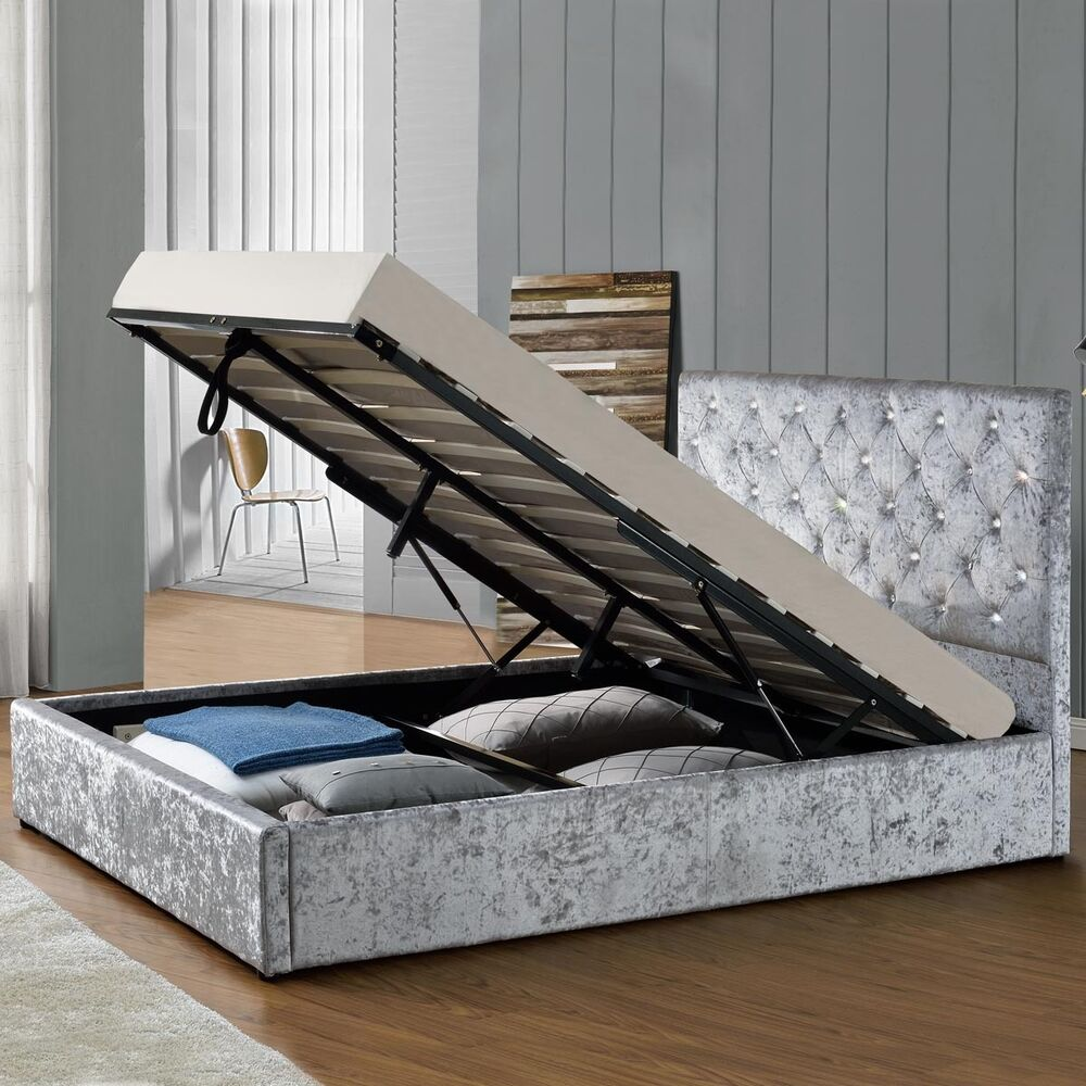 Luxury Silver Crushed Velvet Storage Ottoman Fabric Bed