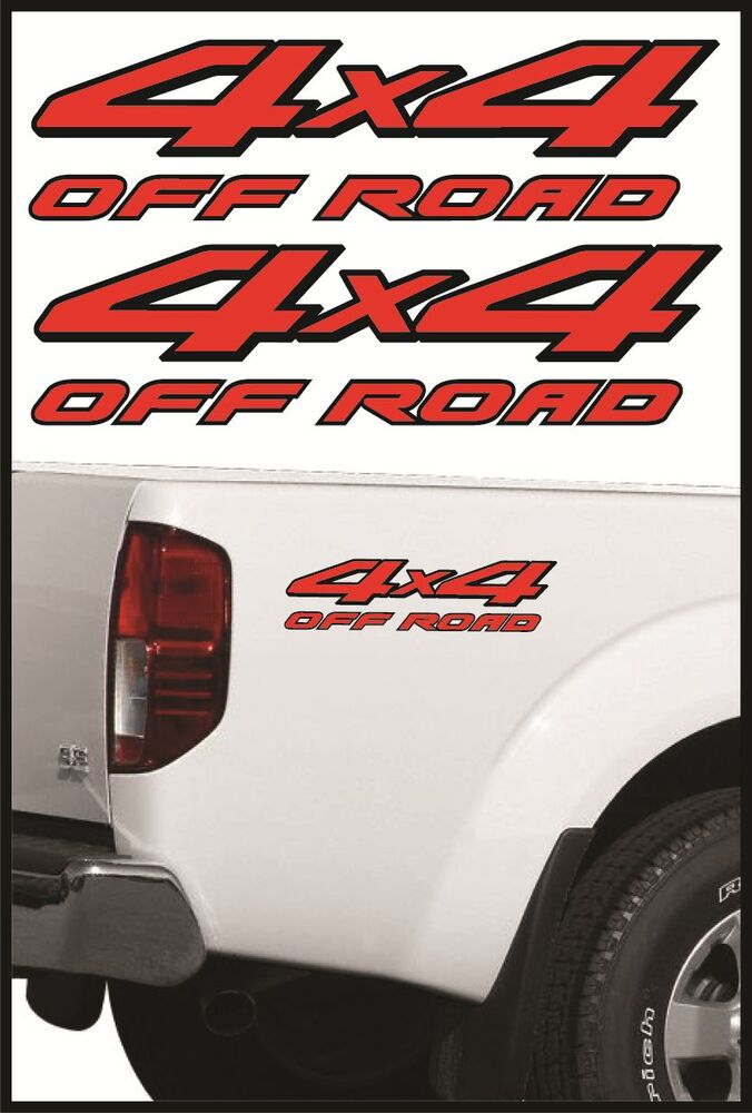 """Nissan Frontier Bed Size >> 4X4 OFFROAD RED / BLACK DECALS FOR NISSAN FRONTIER TRUCKS 2-PACK- SIZE 4""""x15""""   eBay"""