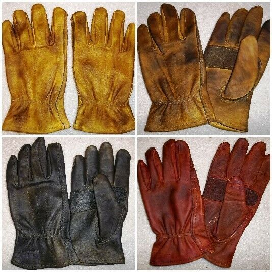 Leather Chopper Motorcycle Gloves Custom Finished Red