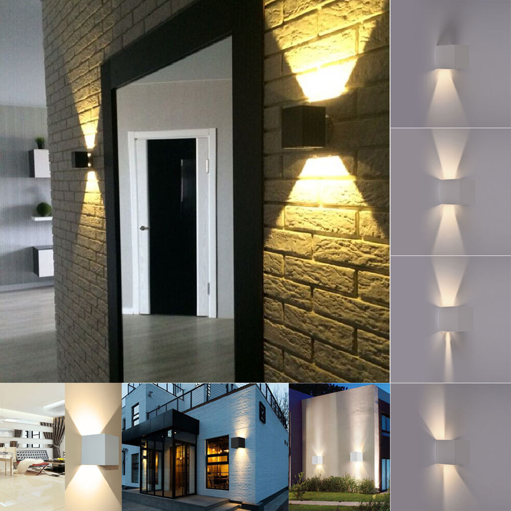 Typo Led Wall Light: Modern 7W 2LED Up Down Indoor Outdoor Wall Light Lamp