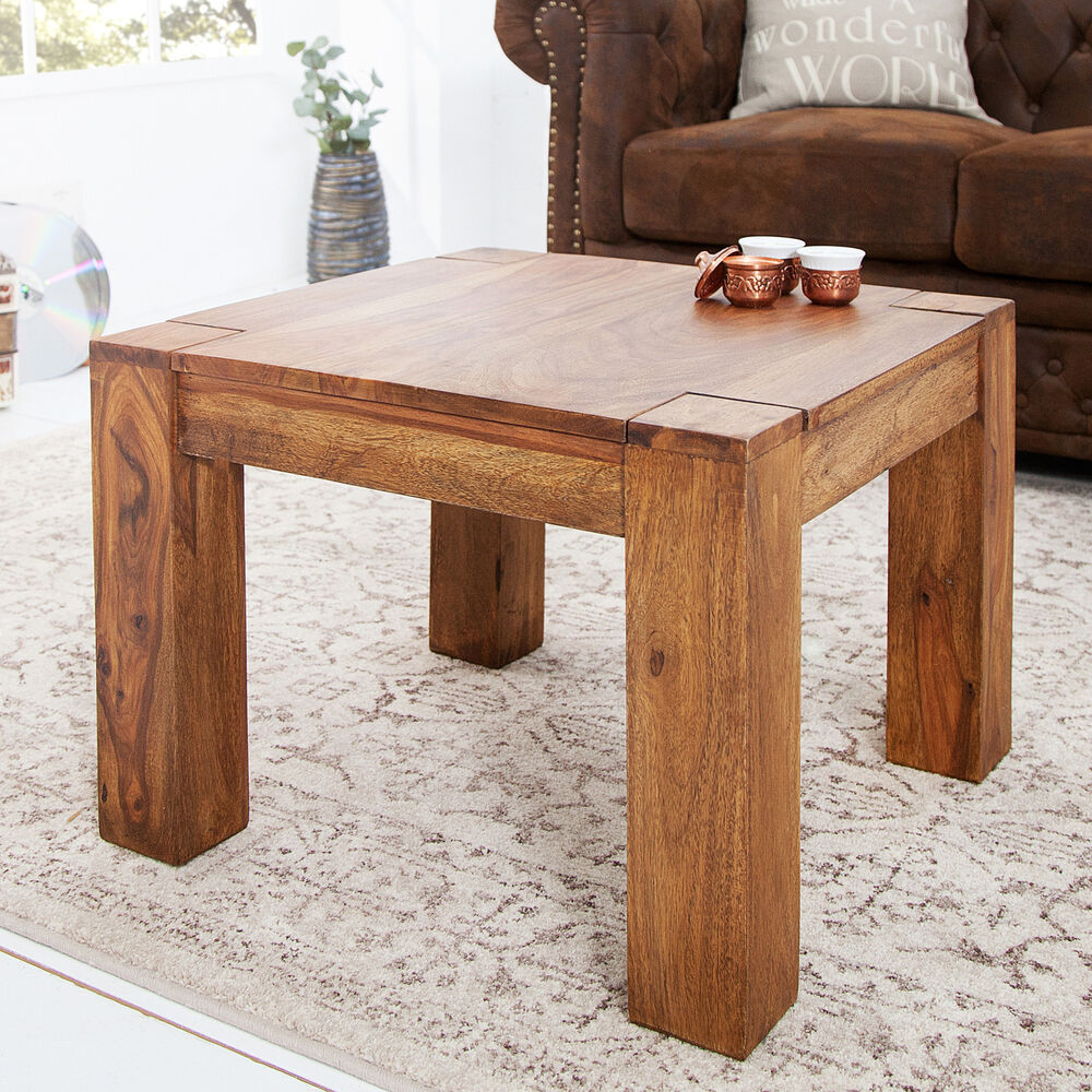 massiver couchtisch beistelltisch makassar 60x60 cm sheesham massiv holz tisch ebay. Black Bedroom Furniture Sets. Home Design Ideas