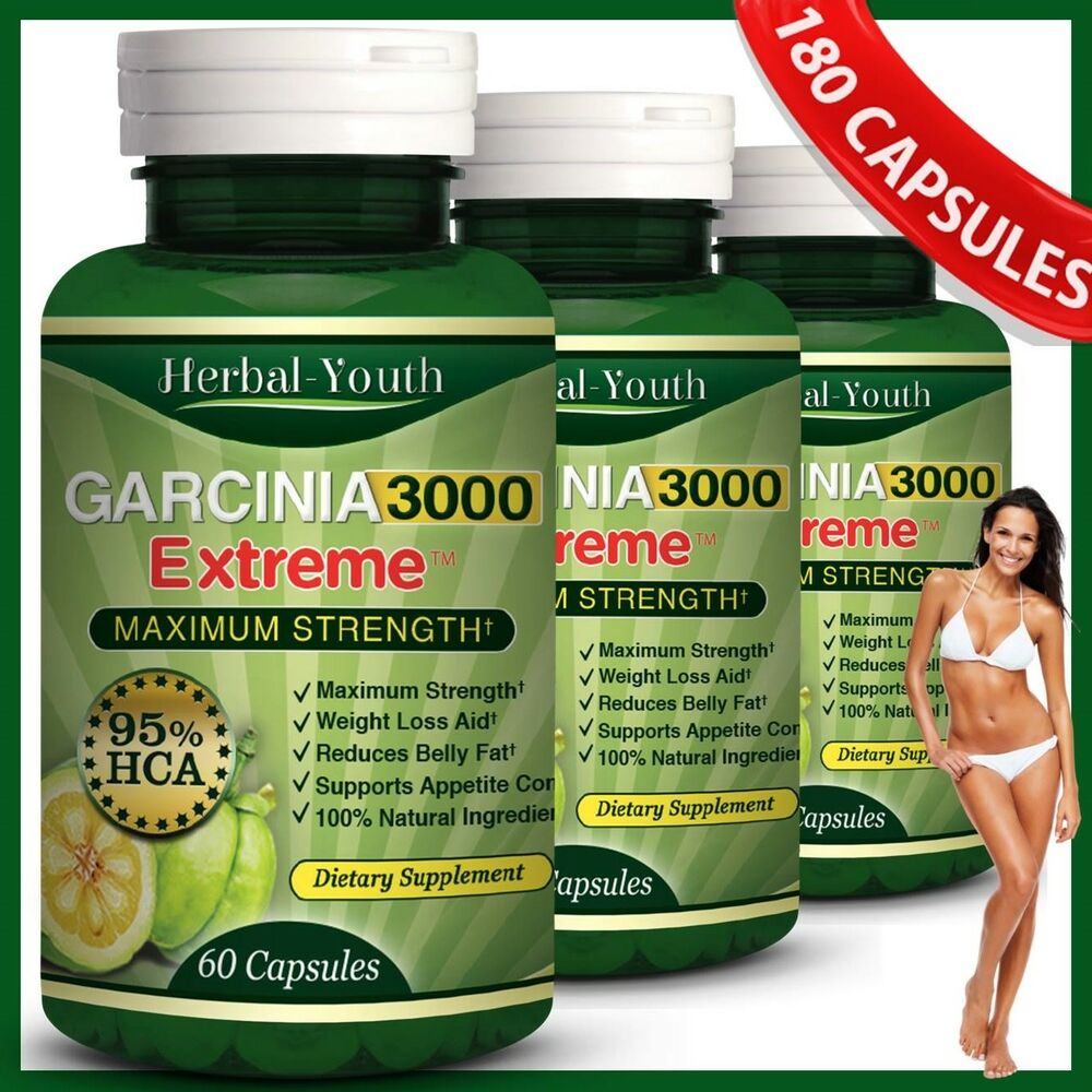 3 x BOTTLES 180 Capsules 3000mg Daily GARCINIA CAMBOGIA ...