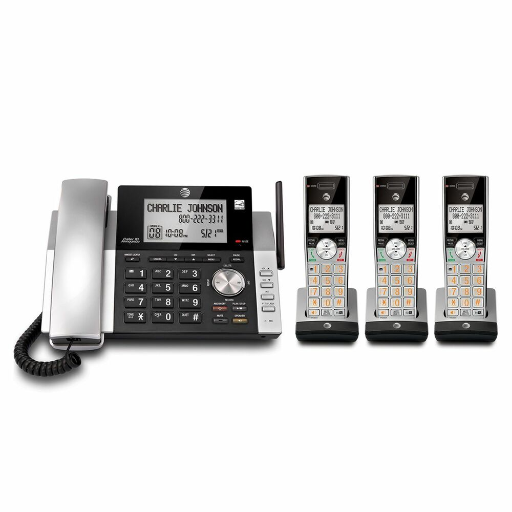 AT&T DECT 6.0 Corded/Cordless 3 Handset Home Phone ...