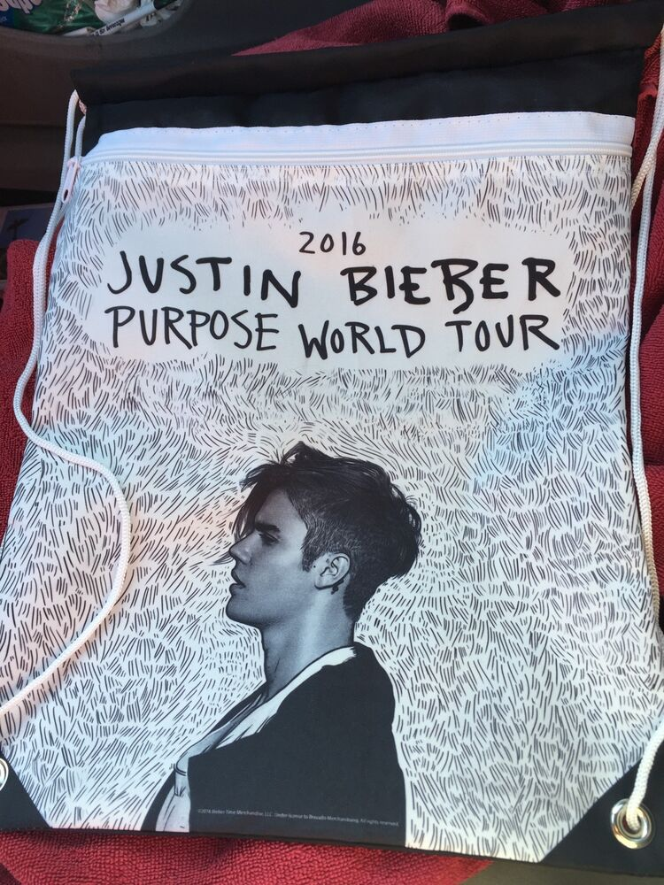 justin bieber purpose world tour vip merchandise drawstring backpack ebay. Black Bedroom Furniture Sets. Home Design Ideas