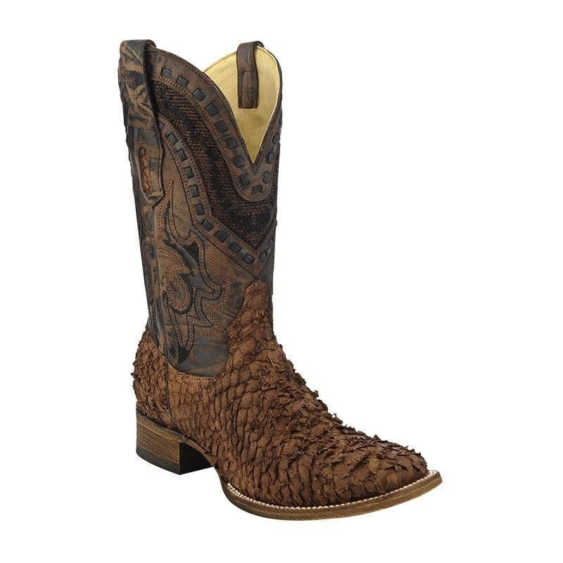 Men 39 s corral gnarly fish skin western boots exotics for Fish scale boots