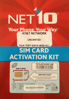 NET10 SIM CARD UNLIMITED AT&T $45 @ MONTH iPhone 3  3G / 3GS / AT&T Android