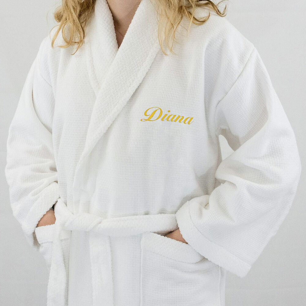 Lady 5 Hotel Edition Bath Robe White Waffle Terry Woman