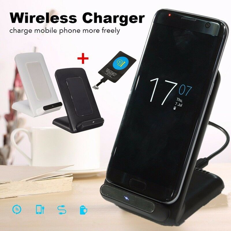 qi wireless fast charger charging dock stand for iphone 8. Black Bedroom Furniture Sets. Home Design Ideas