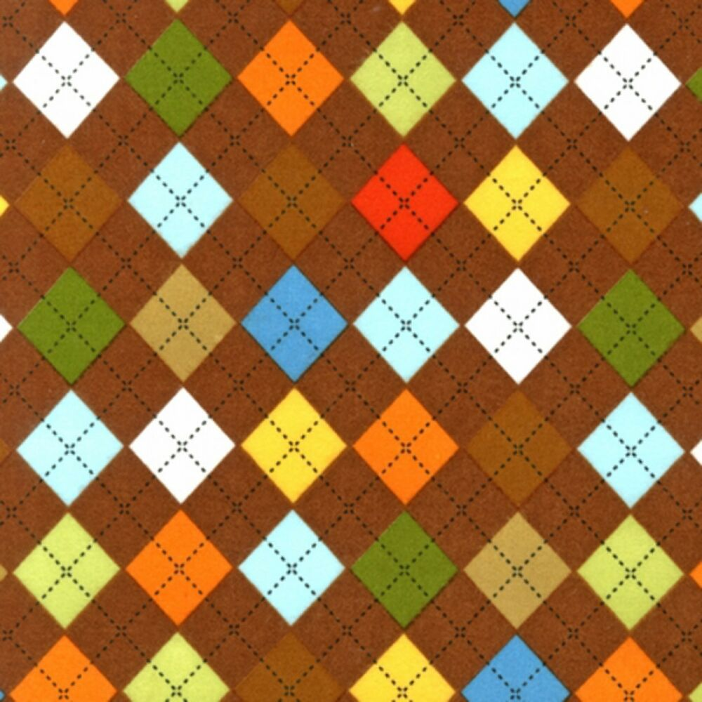 Fabric argyle diamonds on brown flannel 1 yard ebay for Flannel fabric