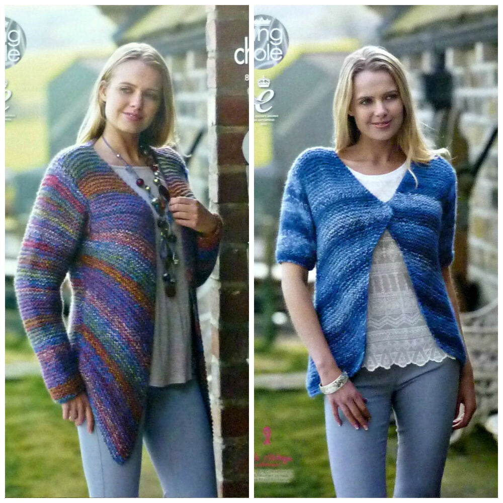 Knitting Pattern Ladies Easy Knit Garter Stitch Cardigans Corona