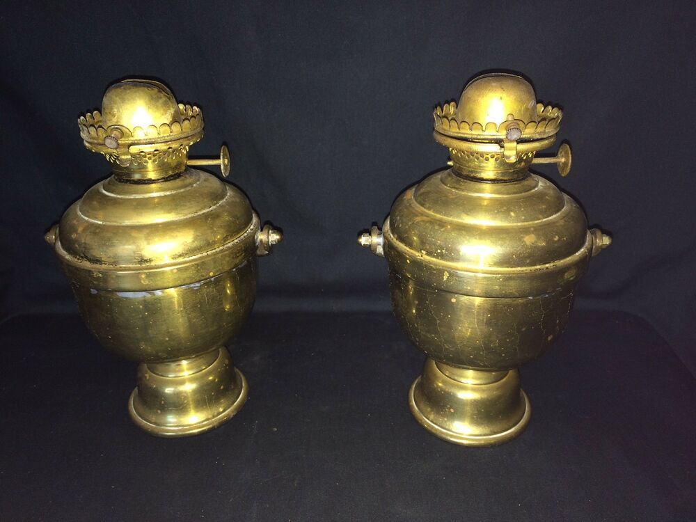 Wall Mounted Brass Oil Lamps : PAIR PERKO MARITIME SHIP WALL MOUNT BRASS KEROSENE OIL LAMP LANTERN THE MILLER C eBay
