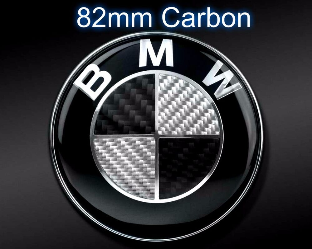 82mm bmw carbon black white emblem hood or trunk e46 e60. Black Bedroom Furniture Sets. Home Design Ideas
