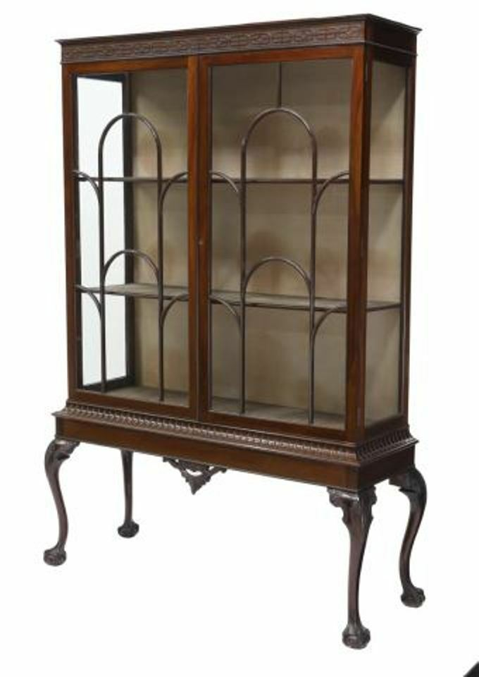 Antique English Mahogany Chippendale Display China Cabinet