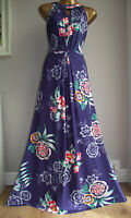 MONSOON BLUE TROPICAL FLORAL JERSEY  MAXI DRESS WEDDING CRUISE HOLIDAY 18 20 22