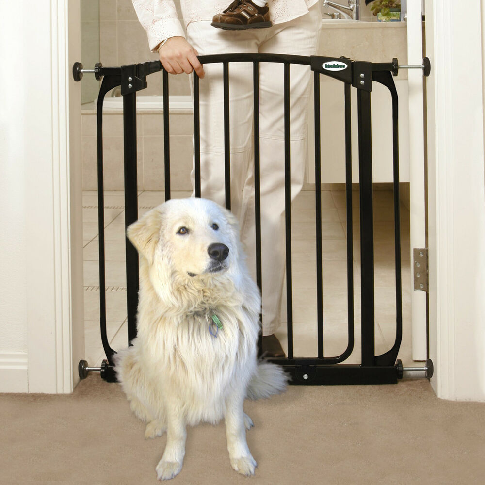 49 53 auto close adjustable black indoor dog pet baby safety gate ebay. Black Bedroom Furniture Sets. Home Design Ideas
