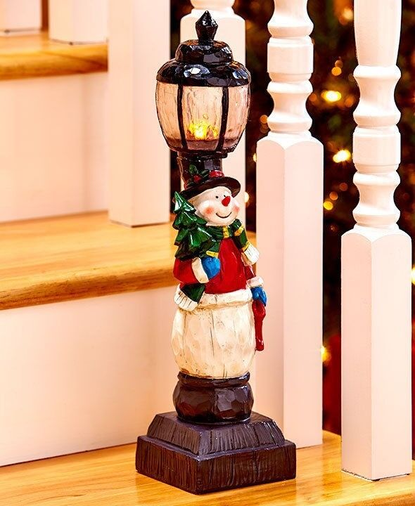 Lighted snowman holiday lamppost christmas stairway for Ebay decorations home