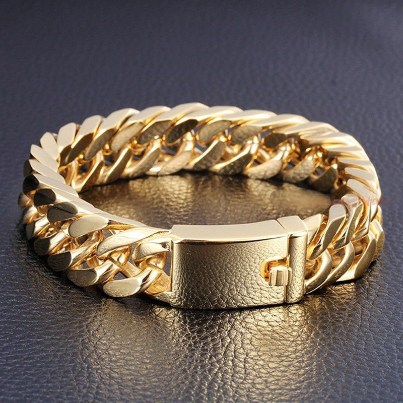 NEW! Heavy Gold Steel Cuban Curb Chain Men's Bracelet ...