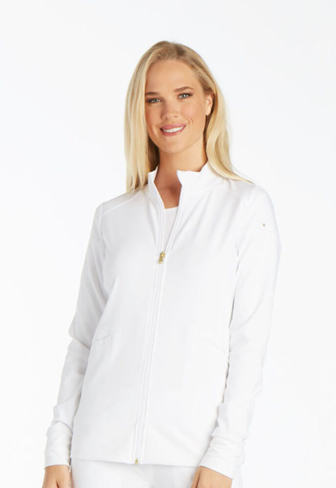 White Cherokee iflex Zip Front Warm Up Scrub Jacket CK303 ...