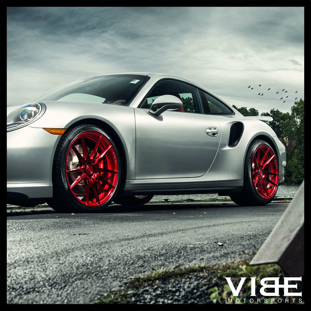 """20"""" ROHANA RF2 RED FORGED CONCAVE WHEELS RIMS FITS PORSCHE"""