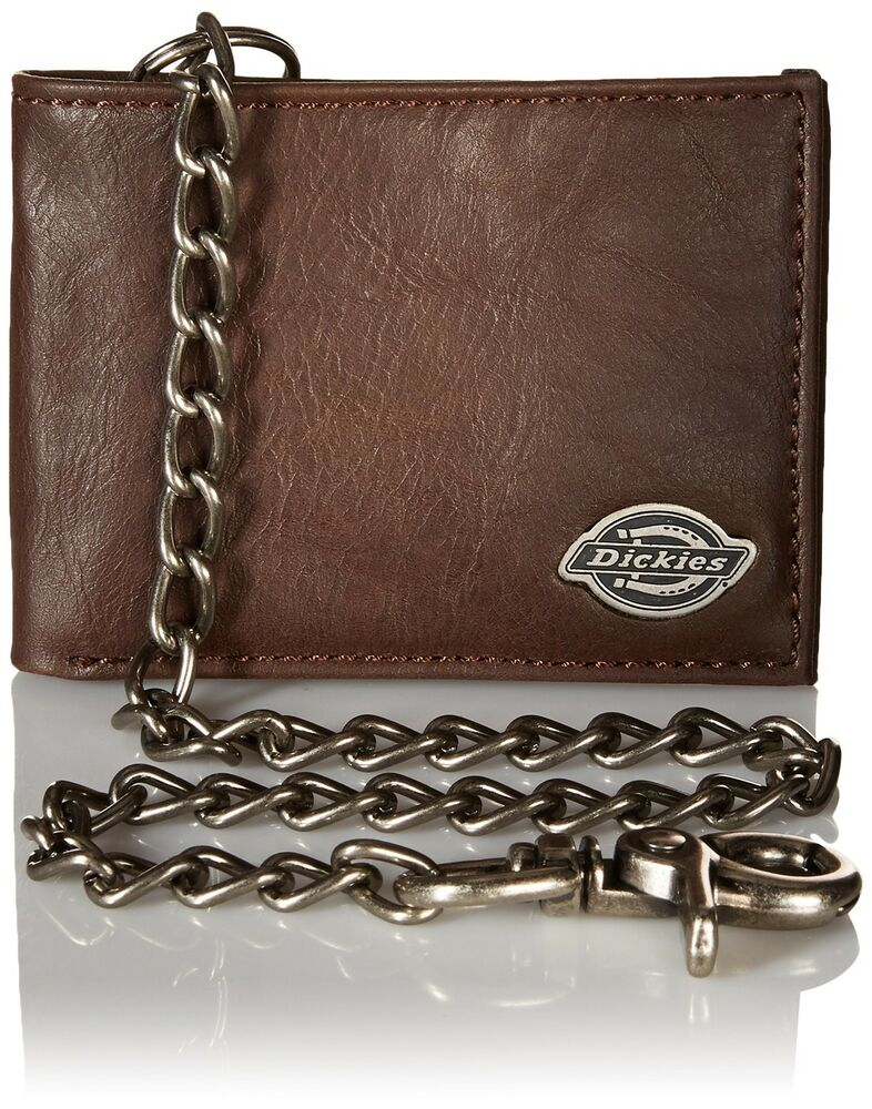 Dickies men s leather slimfold wallet with chain brown one