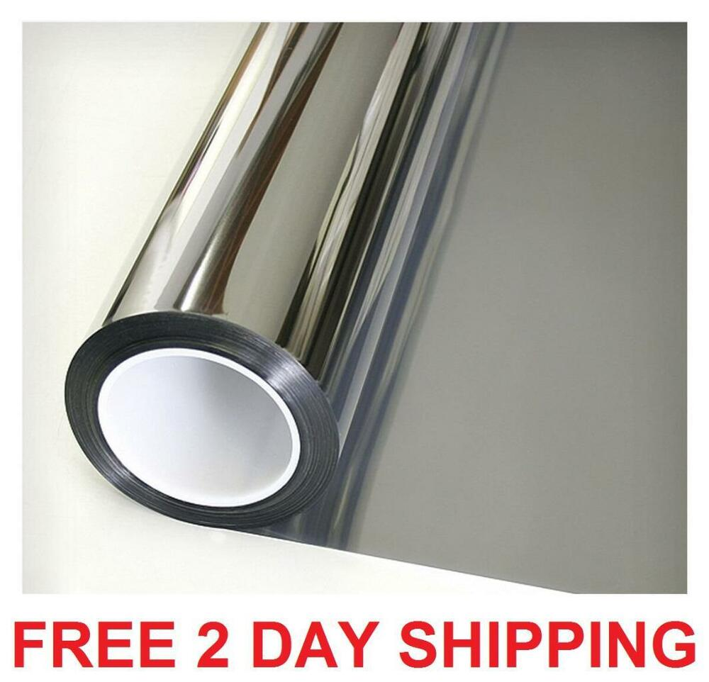 one way reflective daytime privacy mirror window film all silver 5 36in x 12ft ebay. Black Bedroom Furniture Sets. Home Design Ideas