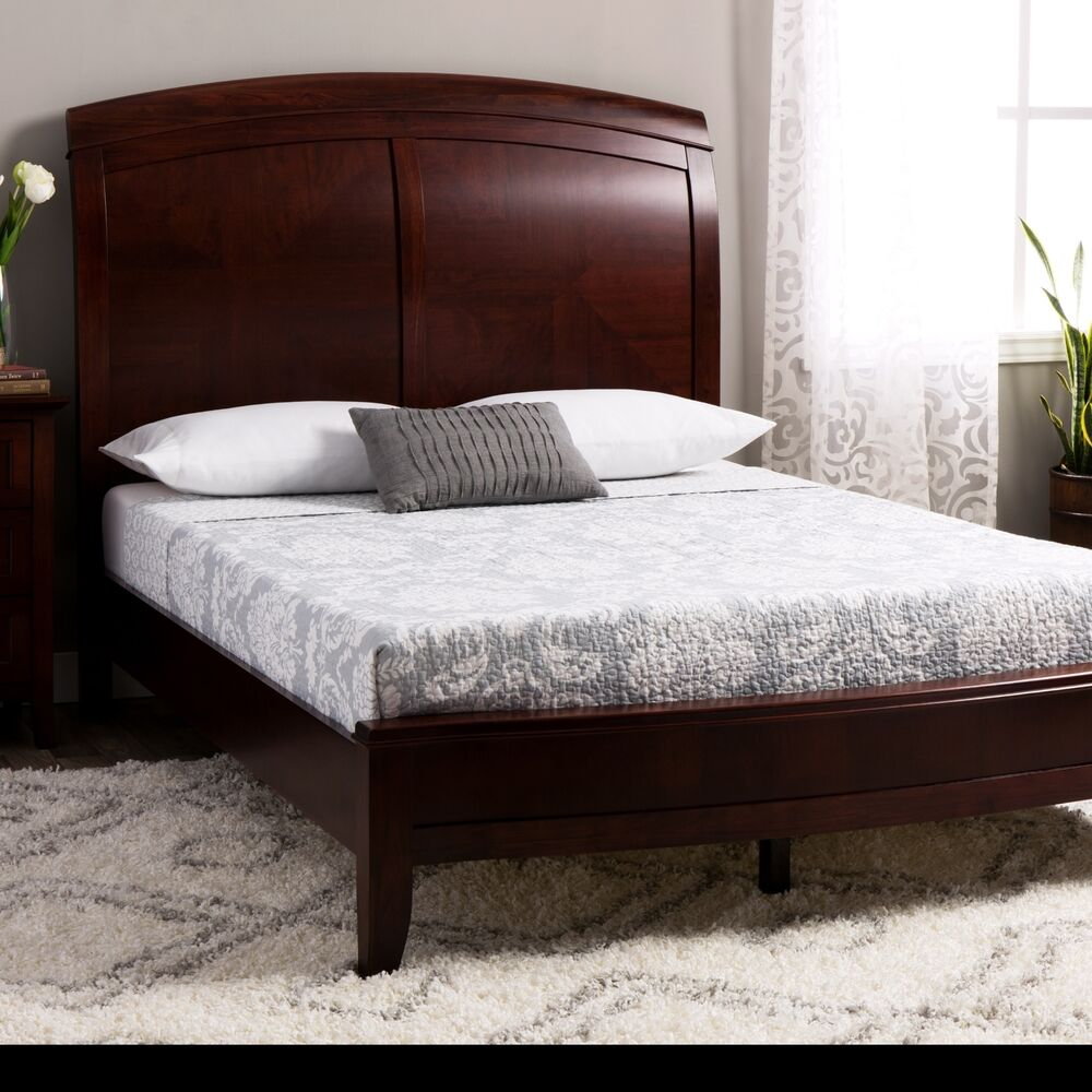 queen size sleigh bed frame wood mahogany cherry veneer classic vintage style ebay. Black Bedroom Furniture Sets. Home Design Ideas