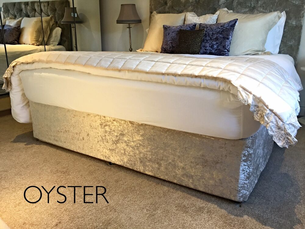 Crushed velvet elasticated bed valance divan base cover for Grey divan bed base