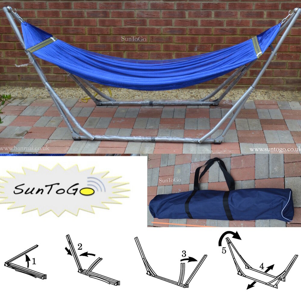 Portable Folding Hammock Steel Stand Camping Outdoor ...