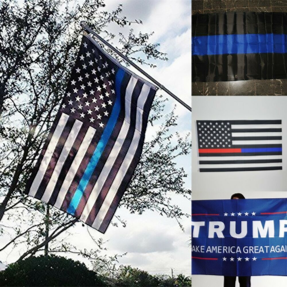 us police thin blue line flag 3 39 x5 39 support police law enforcement 4 style ebay. Black Bedroom Furniture Sets. Home Design Ideas