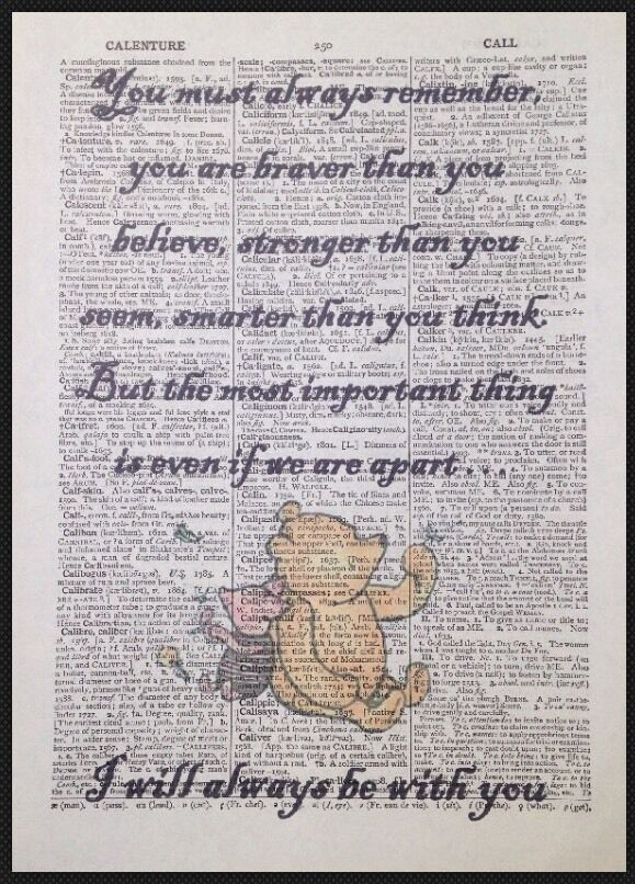 Winnie The Pooh Quote Print Vintage Dictionary Page