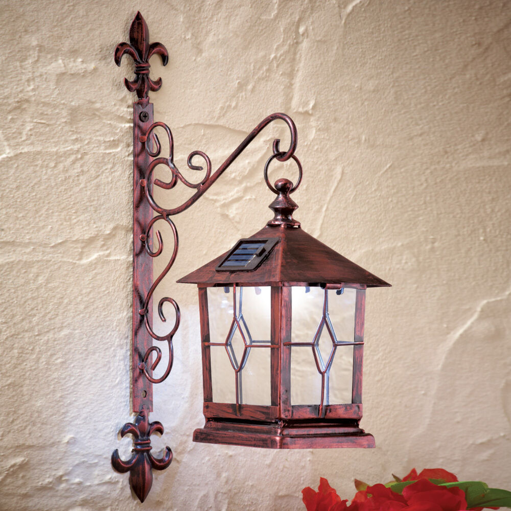 Decorative Coach Style Solar Powered Lighted Wall Lantern