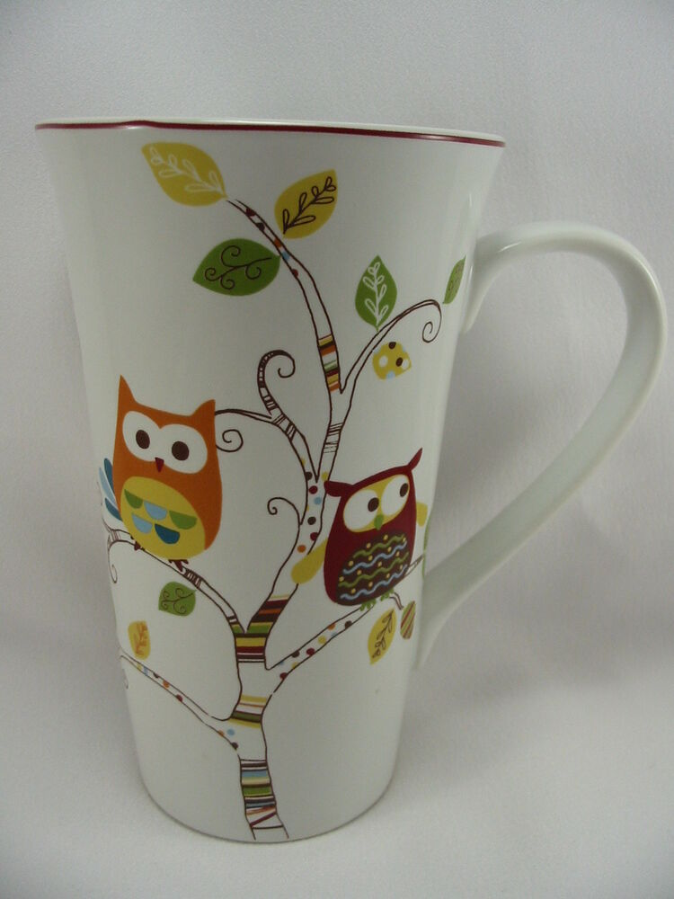 Enchanted Woods Porcelain Coffee Latte 16 Oz Cup Mug Owls