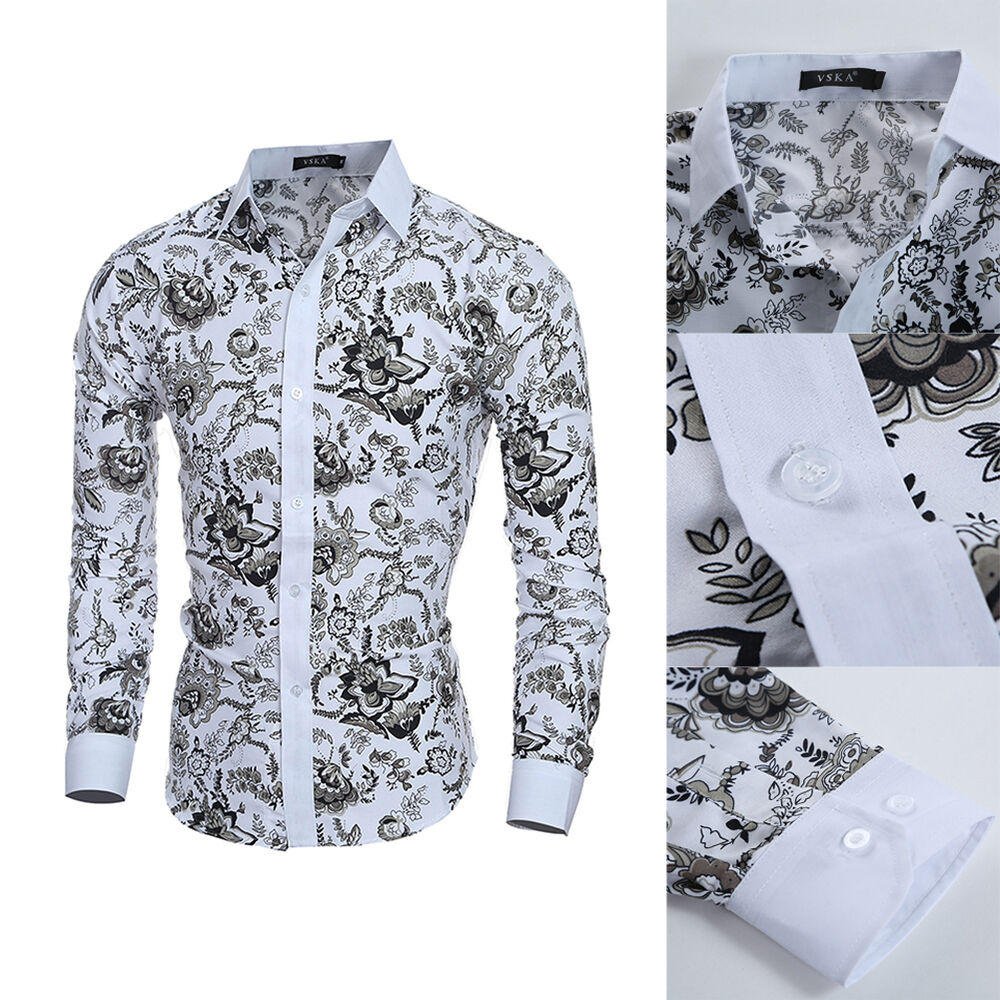 Mens luxury stylish casual dress t shirt casual long for Mens white floral shirt