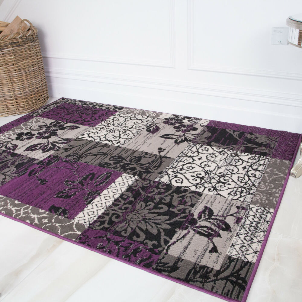 Checked Black Grey Rug: Milan Purple Black Grey Dark Patchwork Checked Boho Modern