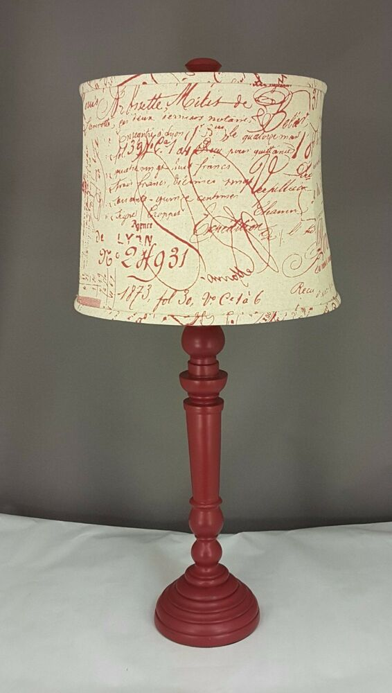 Red Round Spindle Table Lamp With Shade Ebay