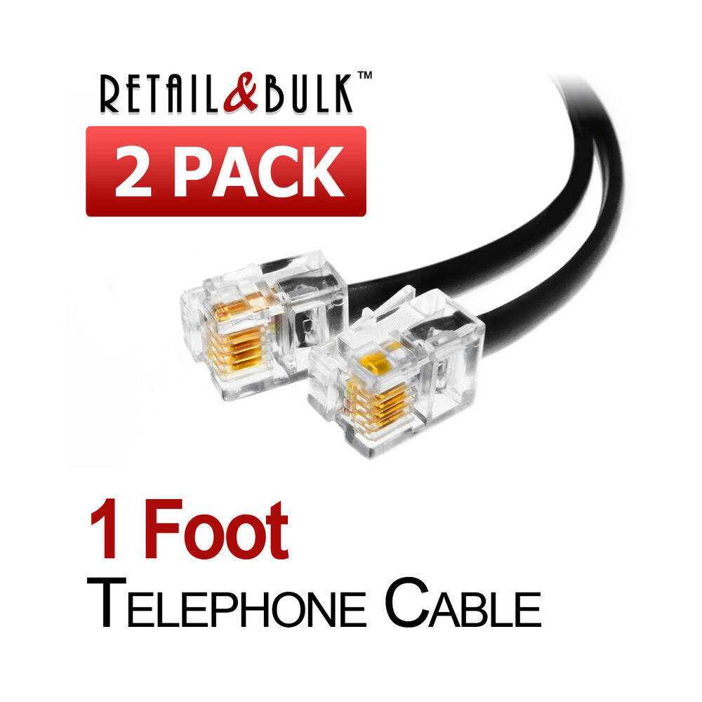 2 Pack 12 Inch Short Telephone Cable Rj11 Male To Male