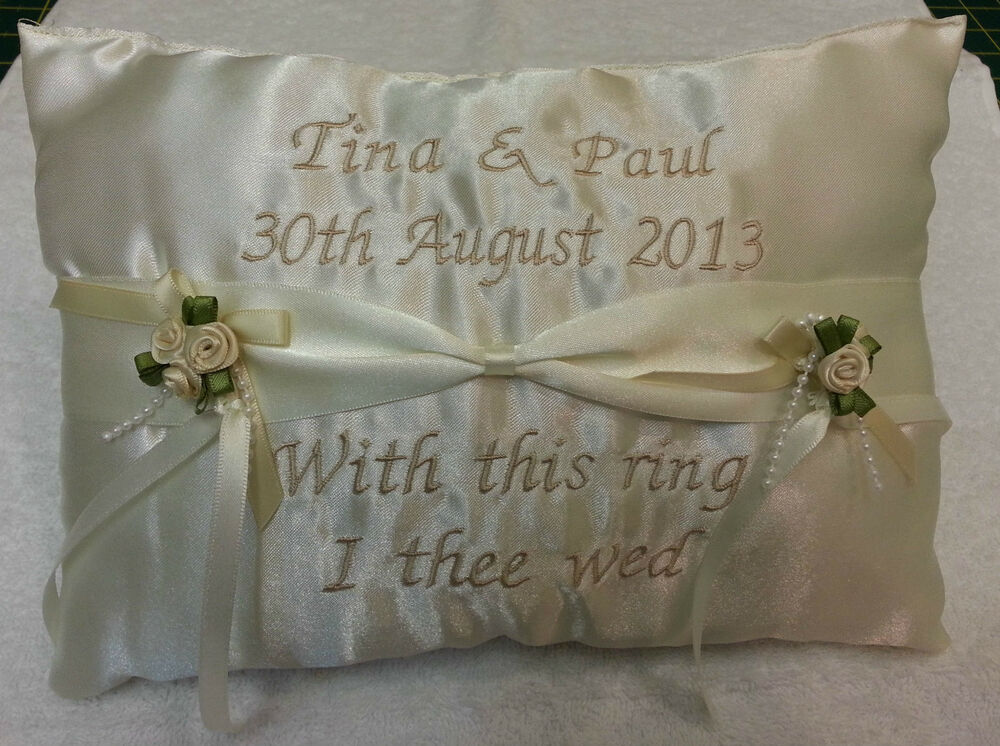 Personalised Wedding Gift Ribbon : Personalised ring cushion pillow ~ ribbon style wedding names bride ...