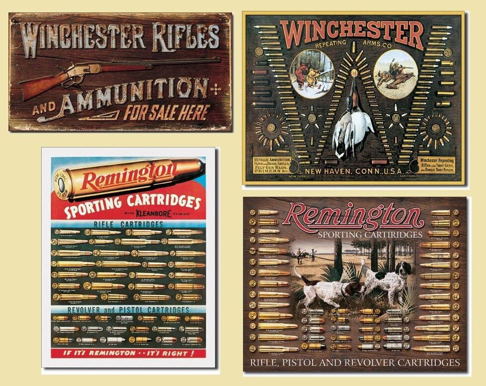Lot Winchester Remington Bullet Board Rifle Tin Signs
