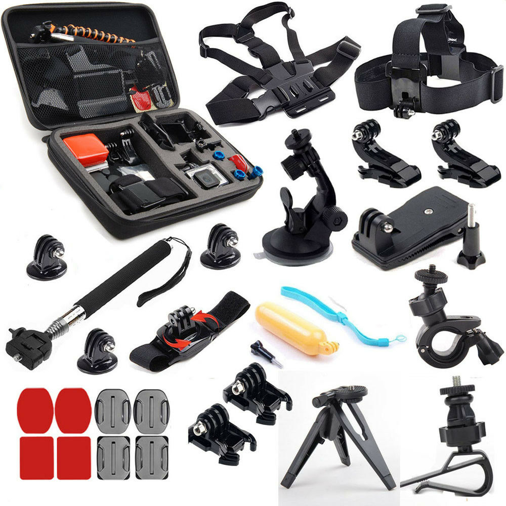 for go pro accessories kit travel mount for gopro hero 5 4 black silver hd 3 21 ebay. Black Bedroom Furniture Sets. Home Design Ideas