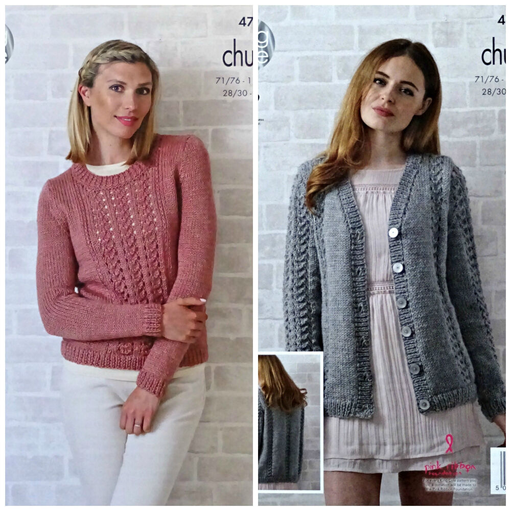 KNITTING PATTERN Ladies Long Sleeve Round Neck Lace Jumper Chunky KingCole 47...