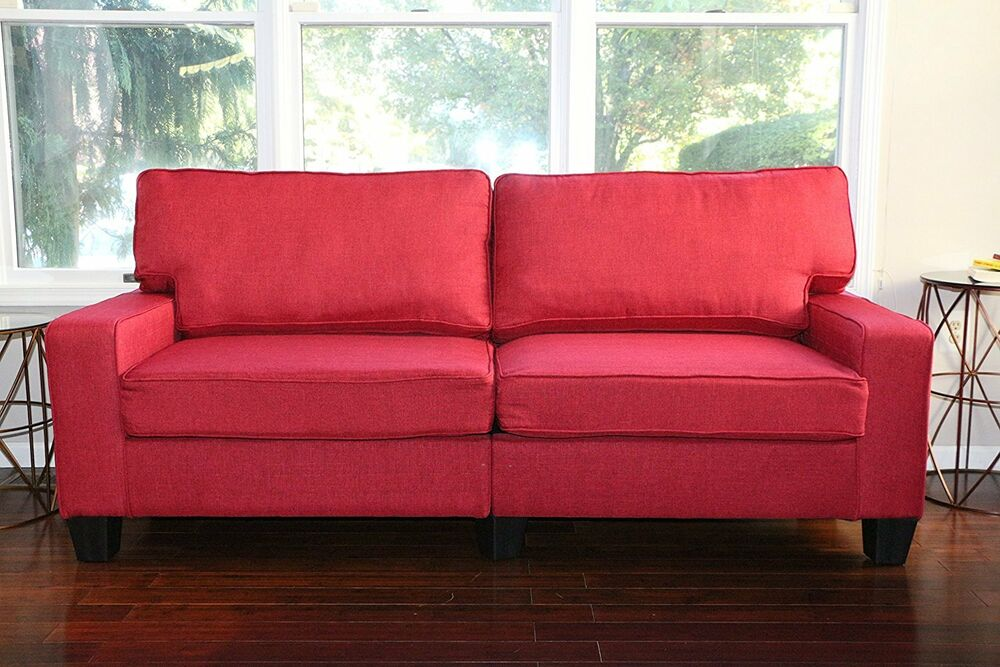 Red Fabric Sofa Couch Love Seat College Dorm Apartment Living Room Modern 61 Ebay