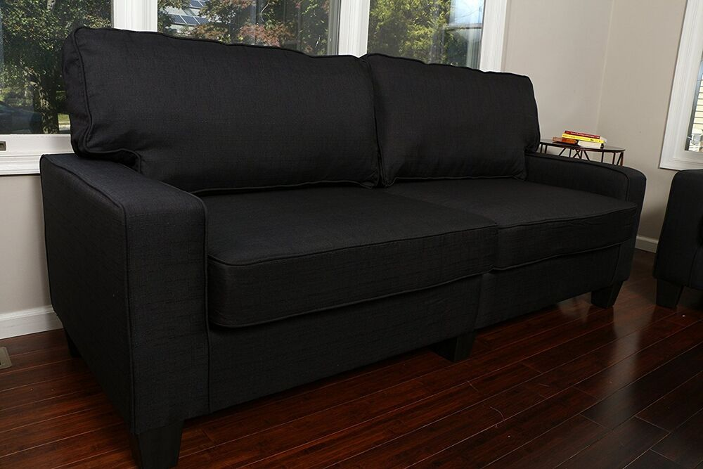 Black Fabric Sofa Couch Love Seat College Dorm Apartment
