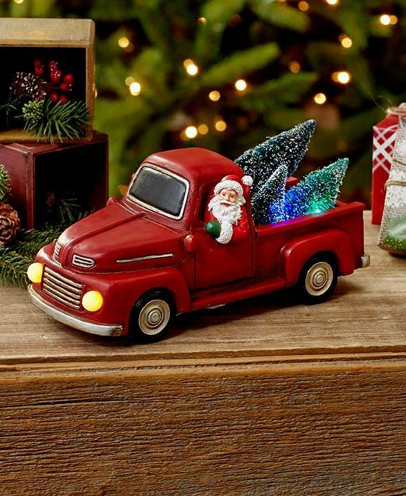 Holiday Lighted Vehicle Red Truck Santa Vintage Style