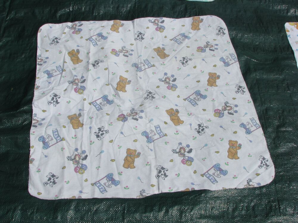Vintage Baby Receiving Blanket Cotton Flannel Abc Balloon
