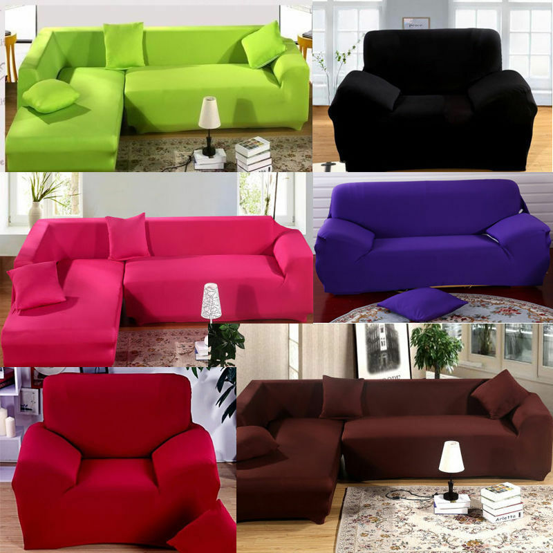 vintage l shape stretch elastic fabric sofa cover sectional corner couch covers ebay. Black Bedroom Furniture Sets. Home Design Ideas
