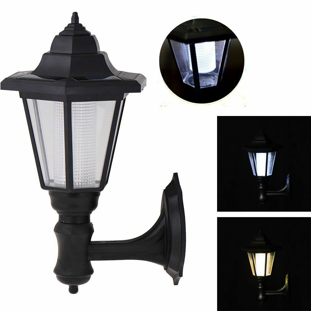 Solar power vintage outdoor wall light lamp sconce garden for Outdoor yard light fixtures