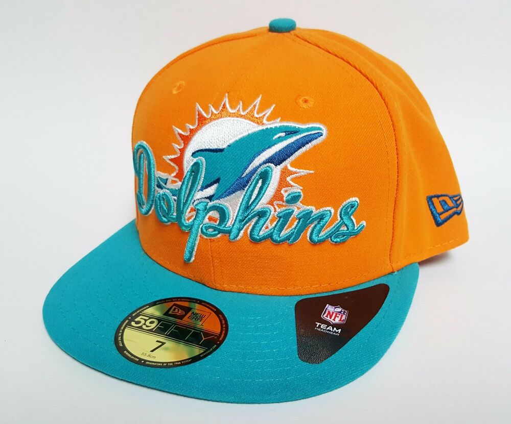 Details about New Era 59FIFTY MIAMI DOLPHINS SCRIPT DOWN Hat Orange ( 36) Cap  NFL Fitted RARE c949c64b3
