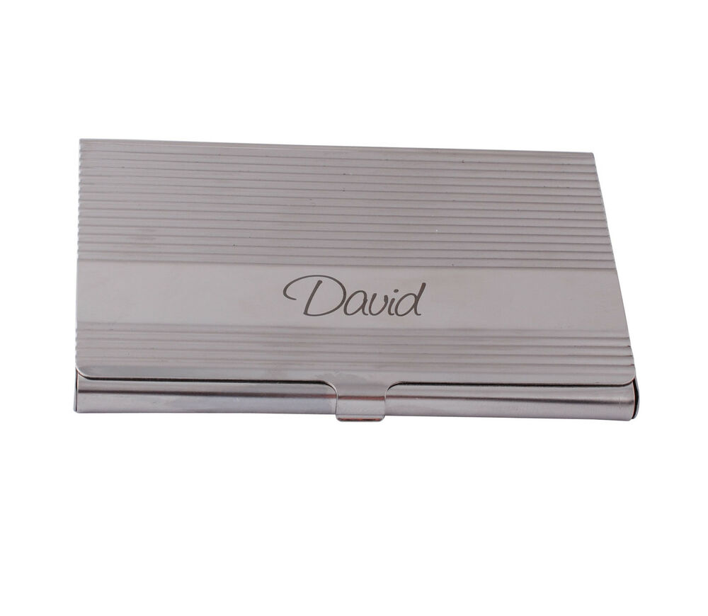 Personalized engraved silver stainless steel business card for Personalized business card holder for men